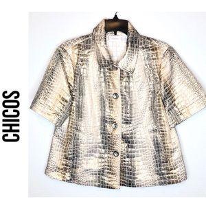 Chico's Gold faux Croc short sleeve Jacket sz 2